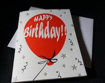 Happy birthday balloon letterpress greeting card