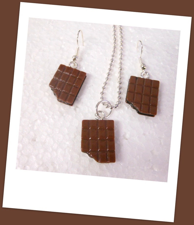 Chocolate necklace and earrings jewelry set SET chocolate bar