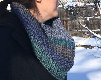 Seascape Crocheted Infinity Scarf