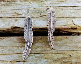 Silver feather earrings, ethnic style earring. Feather earrings, Ethnic style. SIlver Feather. Tribal Jewelry.