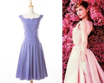 22adddb11ddd MINT - 1950s Pleated Lavender Full Skirt Swing Dress in Embossed Cotton