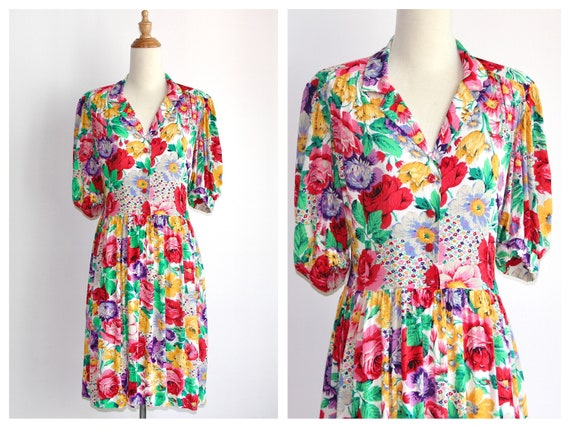 1970s does 1940s Floral Crinkled Gauze Cotton Shir