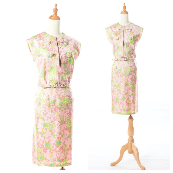 1960s Floral Pastel Pink Asian Inspired Cocktail D