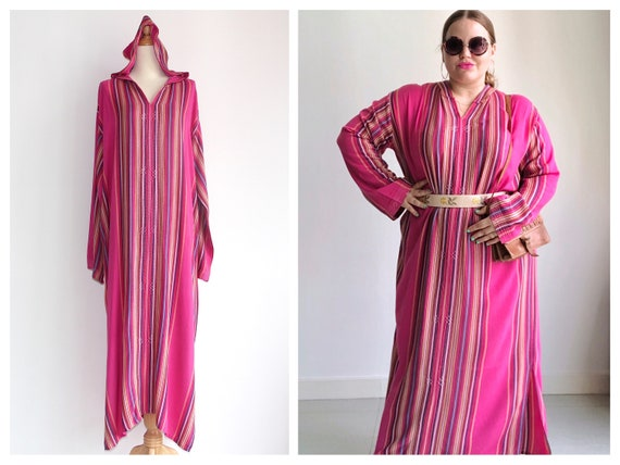 1970s Hot Pink Multi-Color Striped Hooded Cotton K
