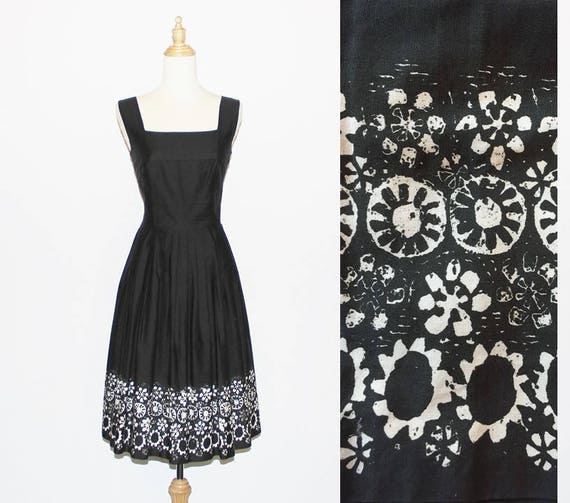 Early 1960s Black Cotton Summer Swing Dress with b