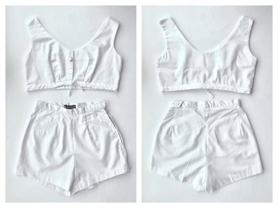 DEADSTOCK - 1960s White Two-Piece Nautical Beach S