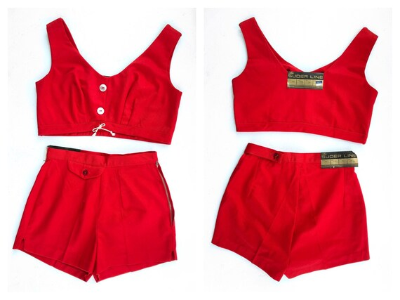 DEADSTOCK - 1960s Scarlet Red Two-Piece Nautical B