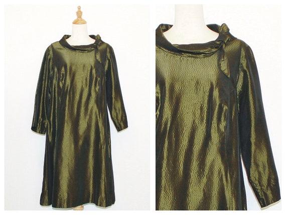 1950s Olive Green Metallic Moiré Trapeze Dress
