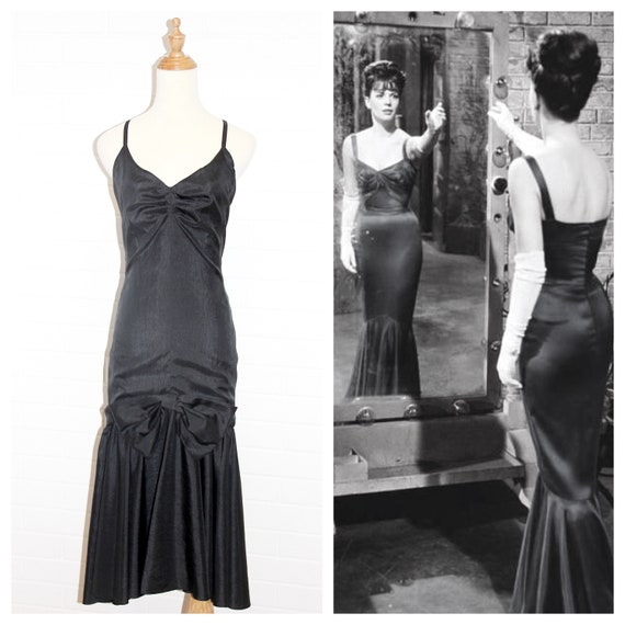1950s Black Crushed Silk Mermaid Gown with Spaghet