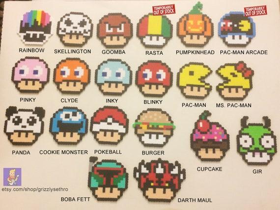 Mushroom Head Mario Pacman Goomba Pokemon Star Wars Bead Sprite 8 Bit Pixel Art