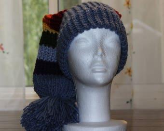Blue Jean Rainbow Slouchy Loom Knit Hat