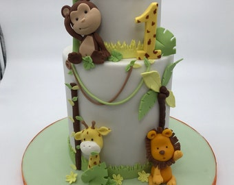 Jungle Cake Topper Set - Fondant Jungle Figurine - LÖWE - GIRAFFE - AFFE - Cake Figurine - Birthday Gift - Cake Decoration