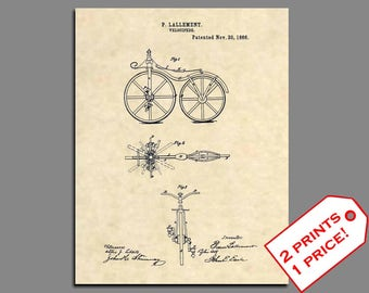 Official FIRST Bicycle Patent Art Print Vintage Velocipede Antique Bike 251