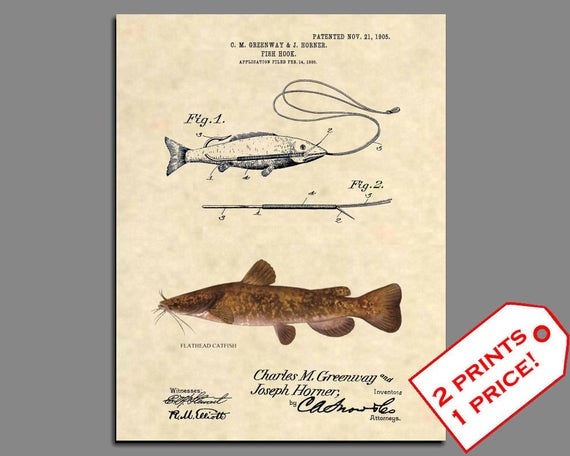 Official Fishing Lure US Patent Art Print Antique Flathead Catfish Fish 382
