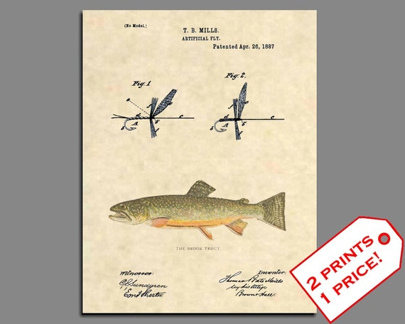 BROOK TROUT Painting Fly Fishing Wall Art Print Cabin Lake House Retro Vintage