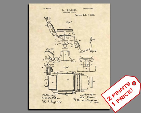 Rollert Art United States Patent Office Print Barber Chair Design 1898 A.J