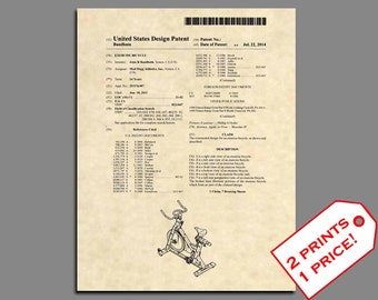 Patent Prints - Exercise Bike Patent Art - Gym Wall Art Patent Print - Gym Decor Patent Poster Gym Prints  - Gym Print Fitness Print - 508