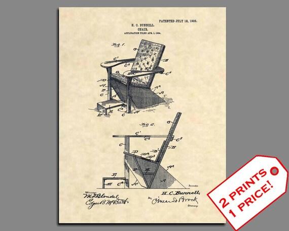 Patent Art Adirondack Chair Patent Print Vintage | Etsy