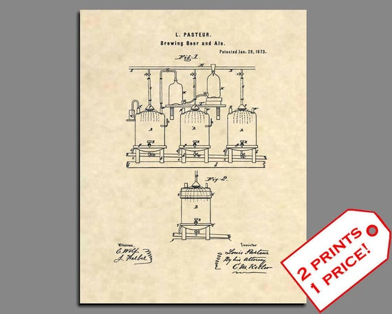 Official Beer Stein US Patent Art Print Vintage Antique Alcohol Bar Art 157