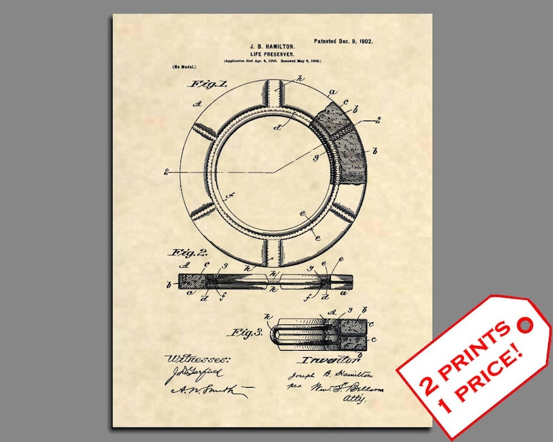 346 Official Zodiac US Patent Art Print Antique Inflatable Boat Raft Vintage