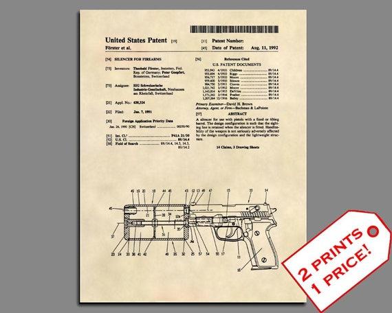 Original 270 SILENCER Gun Pistol 1911 Official Sig Sauer US Patent Art Print
