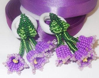Set of 2 hair tie Ponytail holders Hair flowers Elastic hair tie Beaded hair scrunchies  Seed bead lilac flower bell Girl hair scrunchies