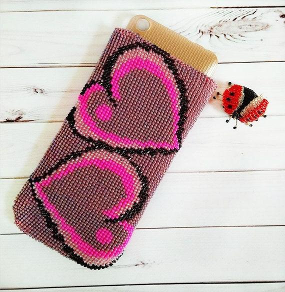 Handy Tasche Häkeln Iphone Fall Herzdesign Etsy