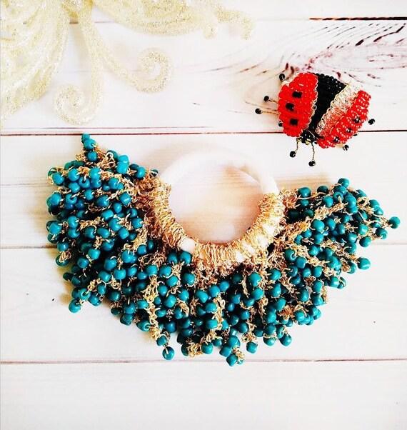 Bead ponytail holder crochet Fringe hair scrunchy Light  fd564c35ca9