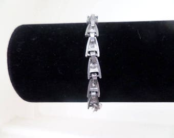 Beautiful Unusual Art Deco Sterling Silver and Clear Gem Stone Bracelet C. 1930's