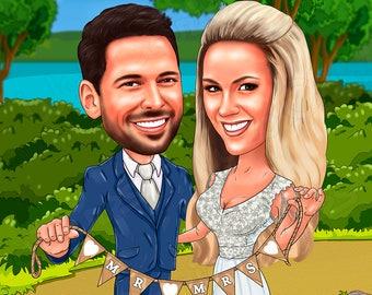 Personalized Wedding illustration, Custom Couple Portrait, Wedding Cartoon Portrait, Wedding, Anniversary gift,  Custom Wedding Gift