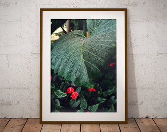 Tropical Anthurium and Palm Leaf, Plant Print, Art Print, Wall Decor, Wall Art