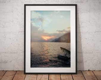 A Misty Mountain Lake Sunset, Art Print, Wall Decor