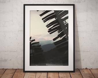 Misty Mountains Through the Palm Trees, Art Print, Wall Decor, Home Decor, Wall Print