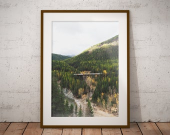 Mountains and Trains, Mid West, Art Print, Home Decor, Wall Decor