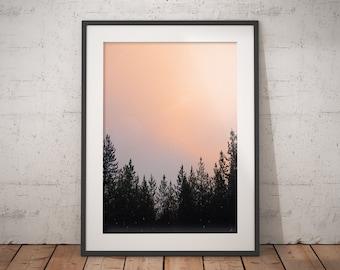 Pink, Dusty, Alpine, Sunset, Sky, Wall Decor, Art Print, Home Decor