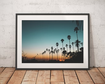 Sunset and Palm Trees, Los Angeles, California, Nature Landscape Photography, Art Prints, Wall Decor