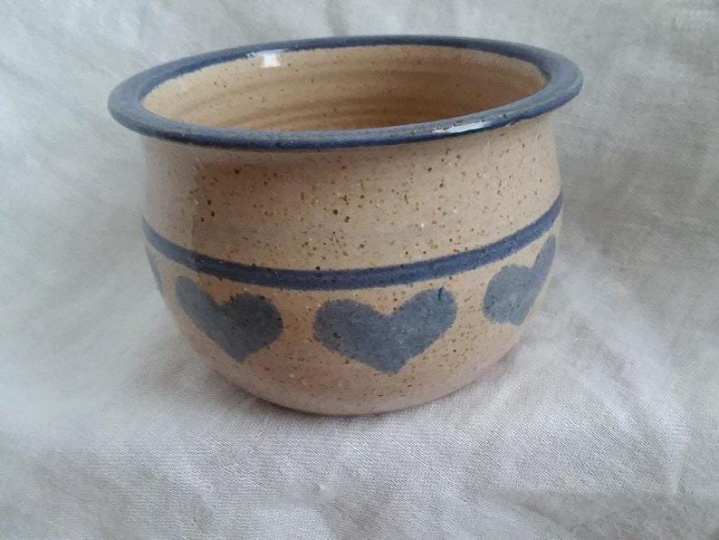 Vintage Ceramic Heart Bowl Beige Clay with Blue Stripes and Hearts Hand Crafted Hand Painted 3.25 Tall 4.5 Diameter Hand Thrown on Wheel