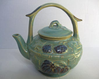 "Vintage Teapot Ceramic Teapot Turquoise Navy Teapot Asian Design Teapot Leaves and Fruit Heavy Teapot 7.25"" Tall Tea Lover Teapot Lover"