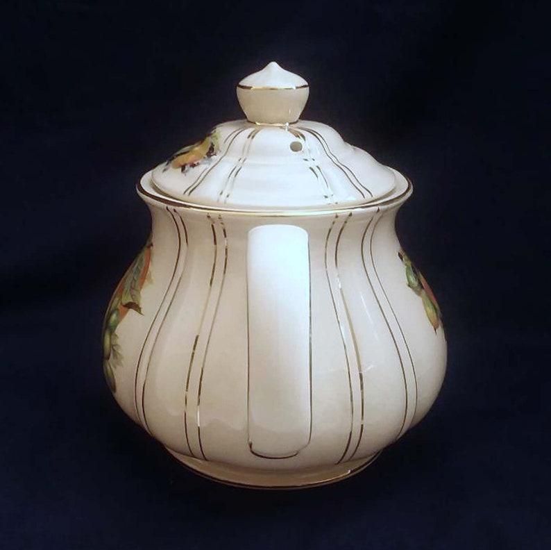 Vintage Sadler Teapot England Fruit Design 9.25 Long 6.25 Tall Gold accents Pear Plums Grapes Blackberries Apple
