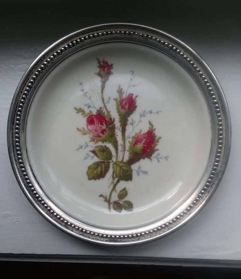 Vintage Rosenthal Bahnhof Selb Porcelain and Sterling Coaster or Trinket Plate 4.25 Diameter Pink and Green Roses