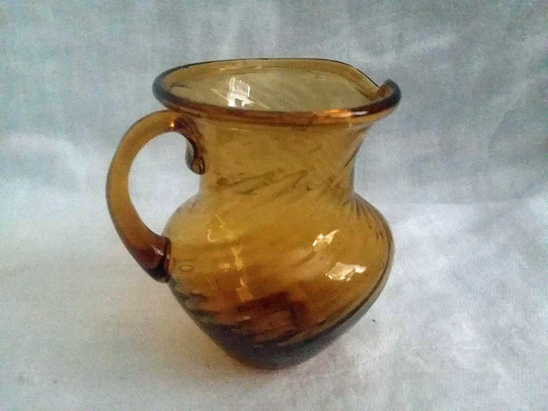 Small Glass Pitcher Hand Blown Vintage Amber Glass Pitcher Twisted Design  Mid Century Pitcher Pontil Mark Bubbles Collectible Glass