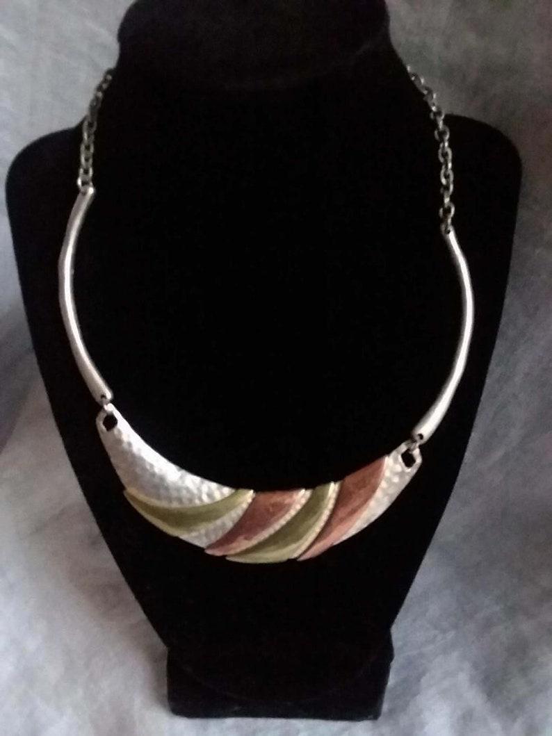 Vintage Necklace Copper Brass On Silver Tone Pounded Metal Half Moon Shape Bib Necklace Crescent Shape
