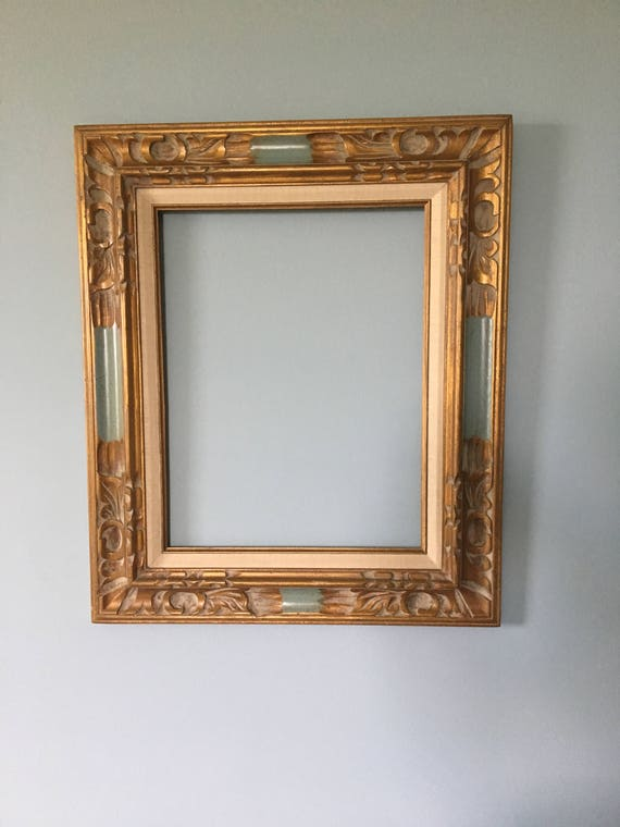 Wood Carved Gold Painted Picture Frame