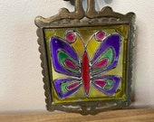 wrought iron butterfly trivet 70 39 s stained glass hanging wall decor