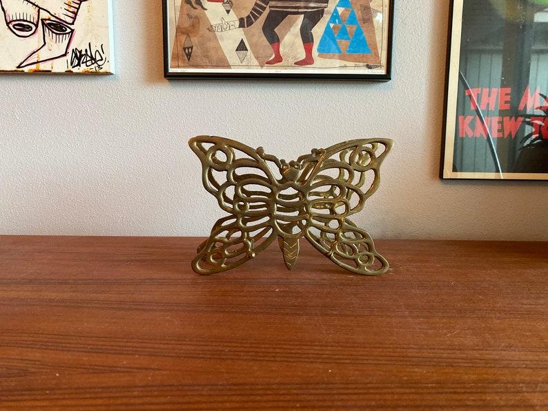 mid century Brass butterfly napkin letter holder