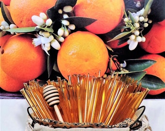 100 Stick Pack Bulk ORANGE Blossom HONEY TEASERS Natural Honey Snack Sticks Honeystix Straws Wholesale Retail
