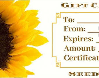 Seedville USA Shop Gift Certificate - Sunflower Design - By Email or Postal Mail - You Choose Amount