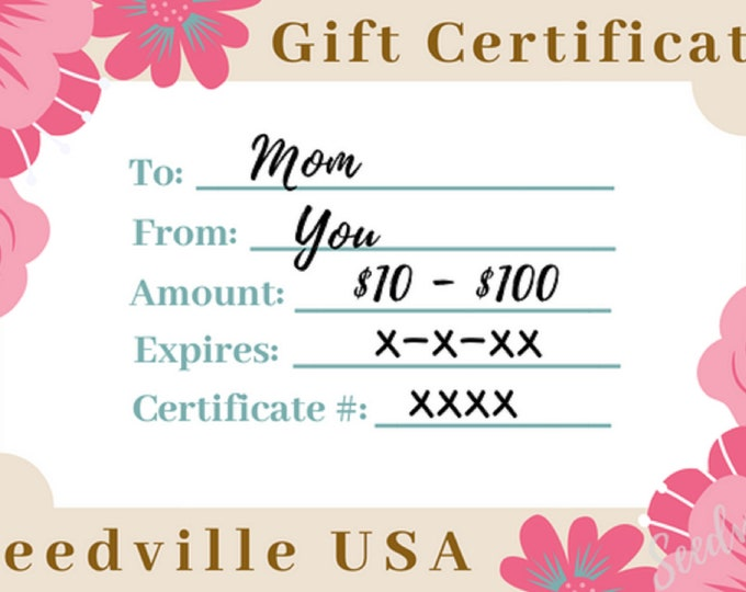 Seedville USA Gift Certificate - Pink Flowers Design - By Email or Postal Mail - You Choose Amount