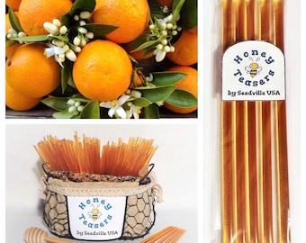 5 Pack ORANGE Blossom HONEY TEASERS Natural Honey Snack Sticks Honeystix Straws