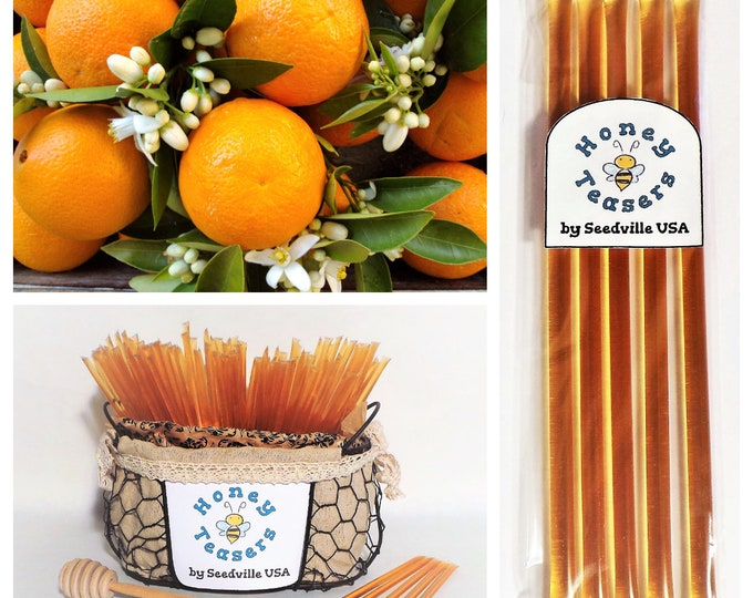 5 Pack ORANGE Blossom HONEY TEASERS Natural Honey Snack Sticks Honeystix Straws